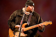 """Toshi Reagon at the 2008 New York Guitar Festival on Saturday 1/12/2008 at the World Financial Center Winter Garden in lower Manhattan. The opening night concert of the festival was titled the """"Royal Albert Hall"""" Project a tribute to Bob Dylan's early 'electric' concerts in England in 1966. Ms. Reagon performed 'Like A Rolling Stone'."""