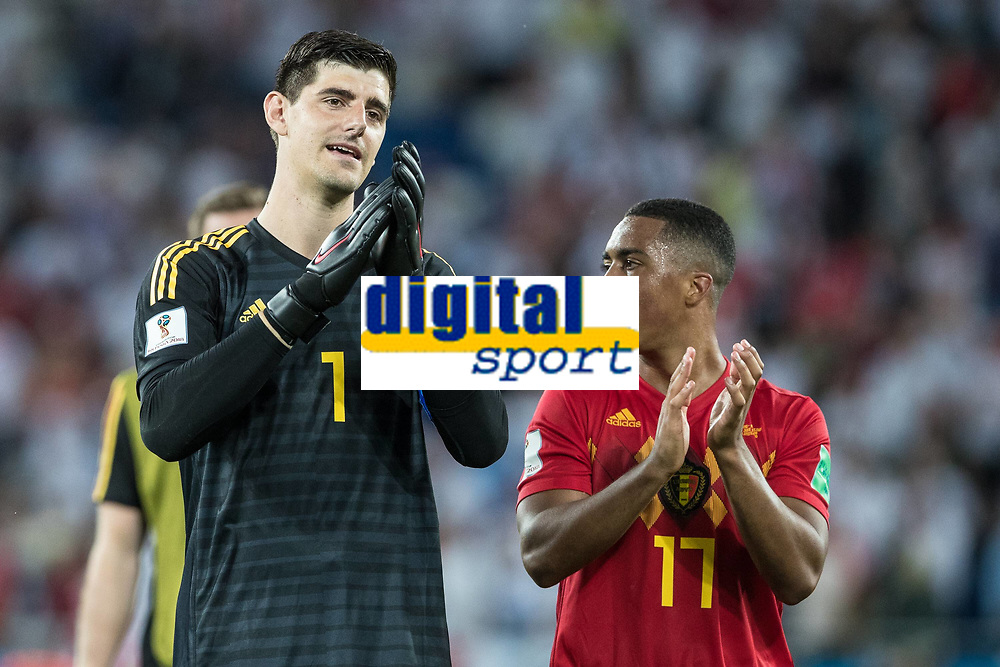 Thibaut Courtois of Belgium and Youri Tielemans of Belgium congratulates each other beating England 1-0 and topping the group during the 2018 FIFA World Cup WM Weltmeisterschaft Fussball Russia Group G match between England and Belgium at the Kaliningrad Stadium, Kaliningrad, Russia on 28 June 2018. PUBLICATIONxNOTxINxUK Copyright: xPeterxDovganx 20250112
