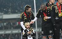 Fotball Menn Eliteserien Rosenborg-Viking<br /> Lerkendal Stadion, Trondheim<br /> 19 november 2017<br /> <br /> <br /> Niklas Bendtner med sønnen Nicholas (V) og Milan Jevtovic<br /> <br /> <br /> <br /> Foto : Arve Johnsen, Digitalsport