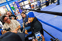 Rancho Cucamonga, California/USA (Tuesday, Nov 12 2013) - Super middleweight champion Andre Ward (26-0, 14 KOs) talks to the media prior to his open workout at the Ward vs Rodriguez Media Workout at the Warzone Boxing Club in Rancho Cucamonga, CA USA. Andre have not fought in over a year due to right shoulder surgery. He is facing Edwin Rodriguez (24-0, 16 KOs) at the Citizens Business Bank Arena in Ontario, California. The Ward-Rodriguez bout will be televised live on HBO at 9:30PM PST. PHOTO © SILVEXPHOTO.COM.