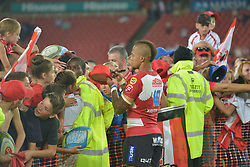 070418 Emirates Airlines Park, Ellis Park, Johannesburg, South Africa. Super Rugby. Lions vs Stormers. Elton Jantjies signs a fans hat after the game.<br />Picture: Karen Sandison/African News Agency (ANA)