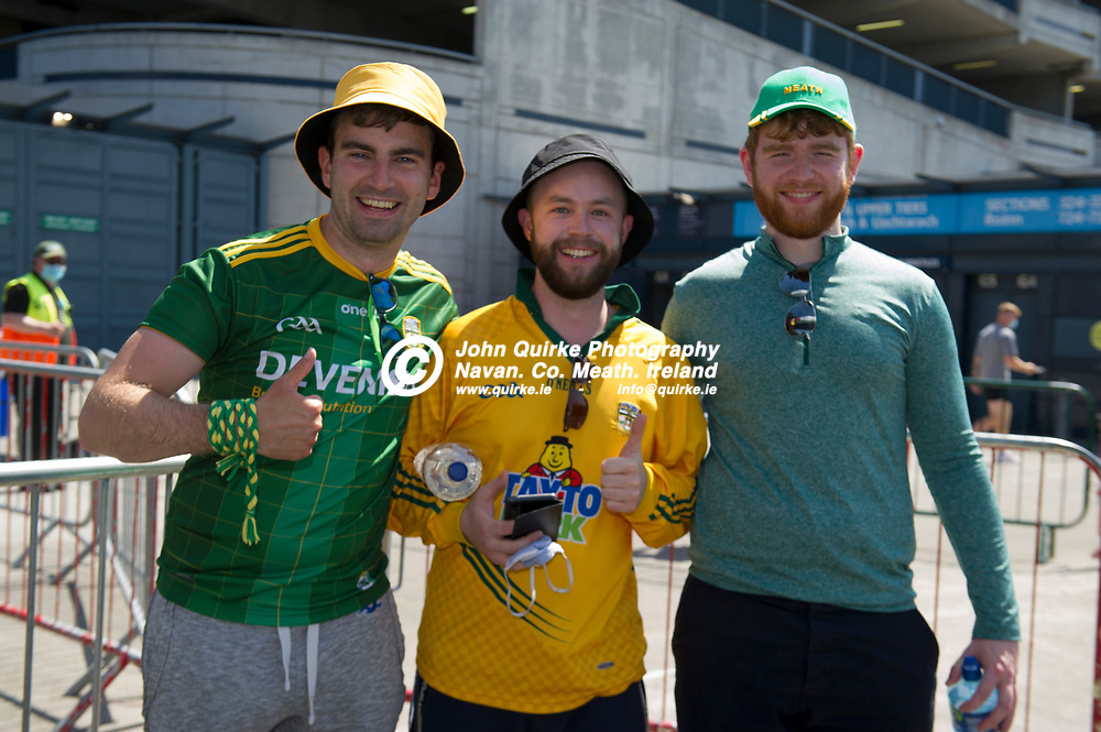 18-07-21. Meath v Dublin - Leinster SFC Semi-Final at Croke Park.<br /> Meath supporters L to R: Dean Keogh, Longwood. Cathal Coffey, Bacanstown and Cian Scanlon, Moynalvey were in Croke Park supporting Meath in Leinster SFC Semi-Final.<br /> Photo: John Quirke / www.quirke.ie<br /> ©John Quirke Photography, 16 Proudstown Road, Navan. Co. Meath. (info@quirke.ie / 046-9028461 / 087-2579454).