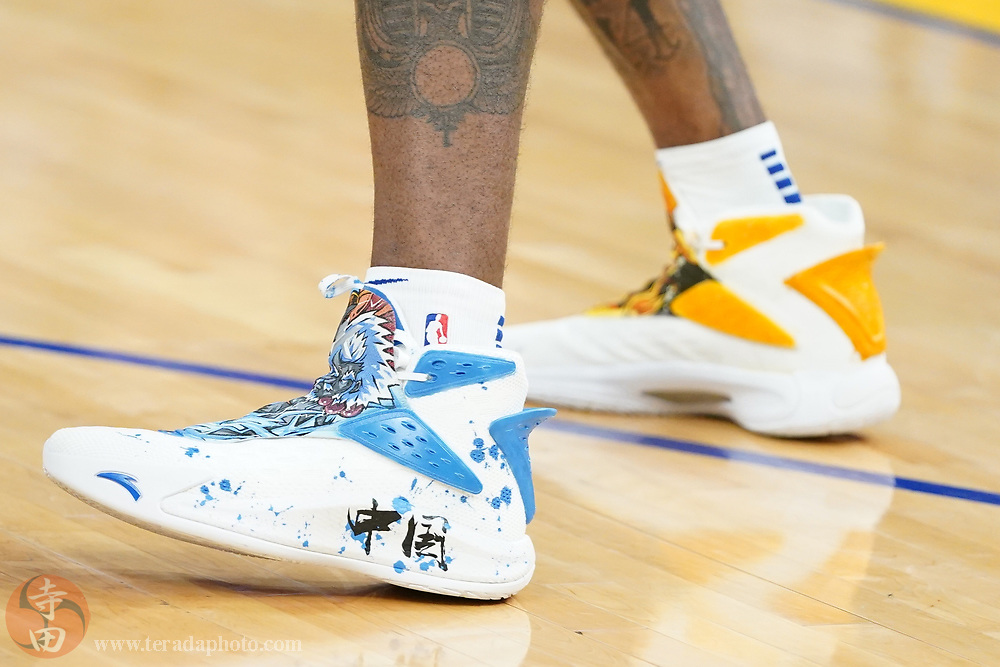 February 27, 2020; San Francisco, California, USA; Detail view of the Anta shoes worn by Golden State Warriors forward Kevon Looney (5) before the game against the Los Angeles Lakers at Chase Center.