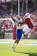 San Jose State Spartans' Peyton Thompson (19) battles Chris Owusu (81) in the air to prevent a touchdown in Palo Alto, Calif., Sept. 3, 2011.  Stanford (7) beat San Jose State 57-3.  (Spartan Daily/Stan Olszewski)