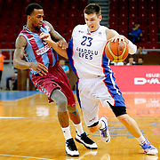 Anadolu Efes's Matthew Janning (R) and Trabzonspor's Demarquis D'Angelo Bost (L) during their Turkish Basketball League Play Off Semi Final round 2 match Anadolu Efes between Trabzonspor at Abdi Ipekci Arena in Istanbul Turkey on Friday 31 May 2015. Photo by Aykut AKICI/TURKPIX