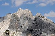 Bare limestone peaks of the Prokletije mountains above the Valbone valley from the Valbone Pass. Valbone, Valbona, Albania. 04Sep15