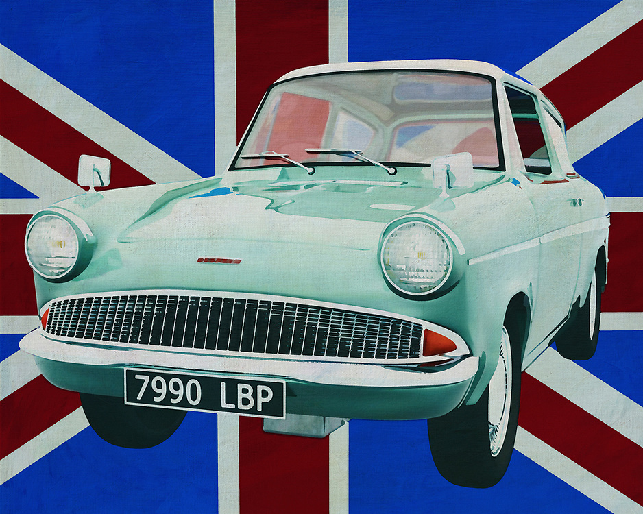 The Ford Anglia is a somewhat weird car from the 60's of last century. Maybe you don't see such a Ford Anglia every day but you do know it.  It's the car Harry Potter flies with in a story. Brits really have a sense of humor to drive around with a car like the Ford Anglia.<br /> <br /> This painting of the Ford Anglia for the British flag can be purchased in various sizes and printed on canvas as well as wood and metal. You can also have the peeling finished with an acrylic plate over it which gives it more depth.<br /> <br /> -<br /> BUY THIS PRINT AT<br /> <br /> FINE ART AMERICA<br /> ENGLISH<br /> https://janke.pixels.com/featured/ford-anglia-in-front-of-the-union-jack-jan-keteleer.html<br /> <br /> WADM / OH MY PRINTS<br /> DUTCH / FRENCH / GERMAN<br /> https://www.werkaandemuur.nl/nl/werk/Ford-Anglia-voor-de-Union-Jack/659821/134?mediumId=1&size=70x55