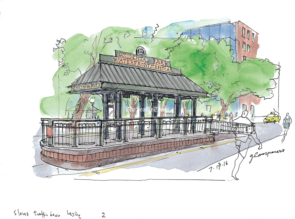 The old waterfront streetcar stop at Occidental Park still serves a purpose: It makes for picturesque sketching and slows down traffic.  (Gabriel Campanario / The Seattle Times)