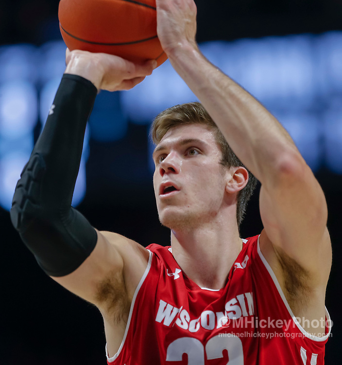 CINCINNATI, OH - NOVEMBER 13: Ethan Happ #22 of the Wisconsin Badgers shoots a free throw during the game against the Xavier Musketeers at Cintas Center on November 13, 2018 in Cincinnati, Ohio. (Photo by Michael Hickey/Getty Images) *** Local Caption *** Ethan Happ