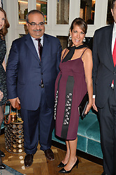 HRH PRINCE SALMAN OF BAHRAIN and HELENE BENHAMOU at a cocktail party hosted by Mrs Sonia Falcone and Mrs Kimberley Robson Chairman of Le Bal de la Riveria 2016 for the forthcoming Ball held at Flemings Hotel, Half Moon Street, London on 27th September 2016.