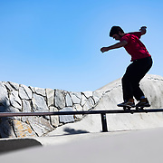 The skatepark in Mammoth Lakes, California is a series of rolling bowls and rails that draw locals and visitors.