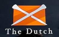 SPIJK - Golfclub THE DUTCH bij Gorinchem. The Dutch is een privégolfclub die uitsluitend toegankelijk is voor members en hun gasten. Members worden begeleidt door de 10 professionals van Made in Scotland. Logo The Dutch.FOTO KOEN SUYK