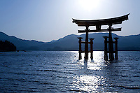 The dramatic torii of Itsukushima Shrine is one of Japan's most popular attractions.  The gate is built of camphor wood and stands about 16 metres high and was built in a four legged style to provide additional stability.