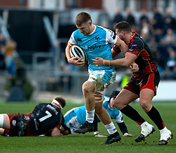 Olly Cracknell of Ospreys is tackled by Harrison Keddie of Dragons<br /> <br /> Photographer Simon King/Replay Images<br /> <br /> Guinness PRO14 Round 12 - Dragons v Ospreys - Sunday 30th December 2018 - Rodney Parade - Newport<br /> <br /> World Copyright © Replay Images . All rights reserved. info@replayimages.co.uk - http://replayimages.co.uk