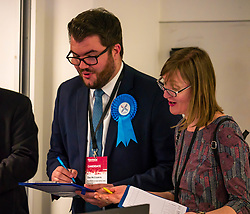 Pictured: Leith Walk Council By-Election. Edinburgh City Council, Edinburgh, Scotland, 11 April 2019. Pictured: Dan McCroskrie, Scottish Conservative and Unionist candidate.  25,526 residents are registered to vote in one of the most densely populated areas in Scotland under the Single Transferable Vote (STV) system. This is the first time in Scotland that an STV by-election has been needed to fill two vacancies in the same ward, held as a result of the resignation of Councillor Marion Donaldson. The election fielded 11 candidates, including the first ever candidate for the For Britain Movement in Scotland, Paul Stirling, founded by former UKIP leadership candidate Anne Marie Waters in March 2018.<br /> <br /> Sally Anderson | EdinburghElitemedia.co.uk