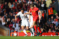 Luis Figo of Real Madrid legends team and Steven Gerrard of Liverpool legends team battle for the ball. Liverpool Legends  v Real Madrid Legends, Charity match for the LFC Foundation at the Anfield stadium in Liverpool, Merseyside on Saturday 25th March 2017.<br /> pic by Chris Stading, Andrew Orchard sports photography.