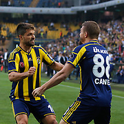Fenerbahce's Diego Ribas (L) celebrate his goal with Caner Erkin (R) during their Turkish superleague soccer match Fenerbahce between Balikesirspor at the Sukru Saracaoglu stadium in Istanbul Turkey on Saturday 02 May 2015. Photo by TURKPIX