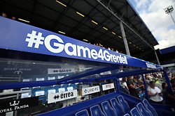 2 September 2017 - Charity Football - Game 4 Grenfell - The dugouts bear the hashtag Game 4 Grenfell - Photo: Charlotte Wilson