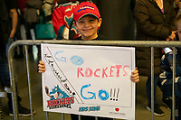 KELOWNA, BC - FEBRUARY 28: A young fan holds up a sign outide the dressing room of the Kelowna Rockets against the Everett Silvertips at Prospera Place on February 28, 2020 in Kelowna, Canada. (Photo by Marissa Baecker/Shoot the Breeze)
