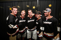 29 August 2009:  The second annual Shoot for the Cure fundraiser event hosted by NHL ice hockey player Joe Dipenta, his wife Jessica, Dianna Munro, Rick Johnson and current NHL Anaheim Ducks hockey players.  Wild Wing, Bobby Ryan, James Wisniewski, Mike Brown, Andrew Ebbett and Brendan Mickkelson at the Rinks in Huntington Beach.