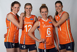 10-05-2018 NED: Team shoot Dutch volleyball team women, Arnhem<br /> Lonneke Sloetjes #10 of Netherlands, Britt Bongaerts #12 of Netherlands, Maret Balkestein-Grothues #6 of Netherlands, Anne Buijs #11 of Netherlands