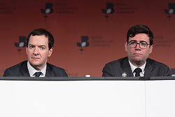 © Licensed to London News Pictures. 28/02/2017. Former Chancellor of the Exchequer GEORGE OSBORNE and Manchester Mayoral Labour candidate ANDY BURNHAM speak at the British Chambers of Commerce Annual Conference 2017 on growing business in the regions and nations.<br /> London, UK. Photo credit: Ray Tang/LNP