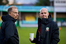 RHYL, WALES - Wednesday, November 14, 2018: Wales Under 19 manager Paul Bodin (L) and Wales intermediate teams manager Robert Page before the UEFA Under-19 Championship 2019 Qualifying Group 4 match between Wales and Scotland at Belle Vue. (Pic by Paul Greenwood/Propaganda)