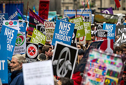 © Licensed to London News Pictures. 26/02/2016. London, UK. Thousands of people take part in a CND (Campaign for Nuclear Disarmament) rally in central London on February 27, 2016. Expected to attend the event are Labour leader Jeremy Corbyn,  leader of the SNP Nicola Sturgeon and Plaid Cymru's Leanne Wood. Photo credit: Ben Cawthra/LNP