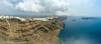 Panoramic aerial view over the bay of Santorini island, Greece.