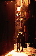 Couple in Street at Sunset