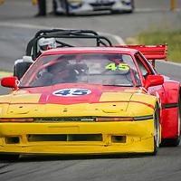 John Glasson (Toyota Supra) entering Turn 1 at Wanneroo Raceway ahead of Richard Shillington (Westfield SEI/Ford)