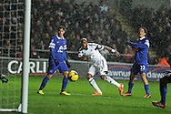 Swansea city's Dwight Tiendalli ©  shoots and scores his sides 1st goal to make it 1-1.  Barclays Premier league, Swansea city v Everton at the Liberty Stadium in Swansea,  South Wales on Sunday 22nd Dec 2013. pic by Andrew Orchard, Andrew Orchard sports photography.