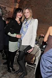 Left to right, JASMINE GUINNESS and JADE PARFITT at an evening of cheesey culinary delights & champagne hosted by Alex James, Yasmin Mills and Elaine Foran held at Aubaine, 31 Dover Street, London on 20th March 2012.