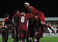 Photo: Paul Thomas.<br />Chester City v Swindon Town. Coca Cola League 2. 01/09/2006.<br /><br />Christian Roberts and Swindon celebrate Lee Peacock's goal.