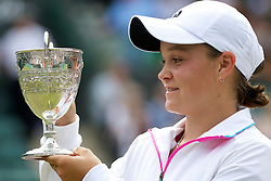 LONDON, ENGLAND - Sunday, July 3, 2011: Girls' Singles Champion Ashleigh Barty (AUS) celebrates with the trophy after winning the Girls' Singles Final match on day thirteen of the Wimbledon Lawn Tennis Championships at the All England Lawn Tennis and Croquet Club. (Pic by David Rawcliffe/Propaganda)