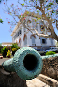 Ancient cannon in the grounds of Bach Dinh Palace, (the White House). Vung Tau, Vietnam