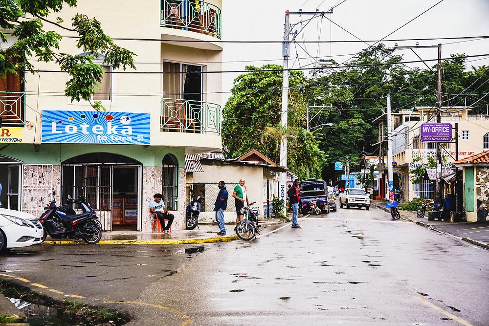 Traffic on Callejón de Loma, Cabarete, Dominican Republic.