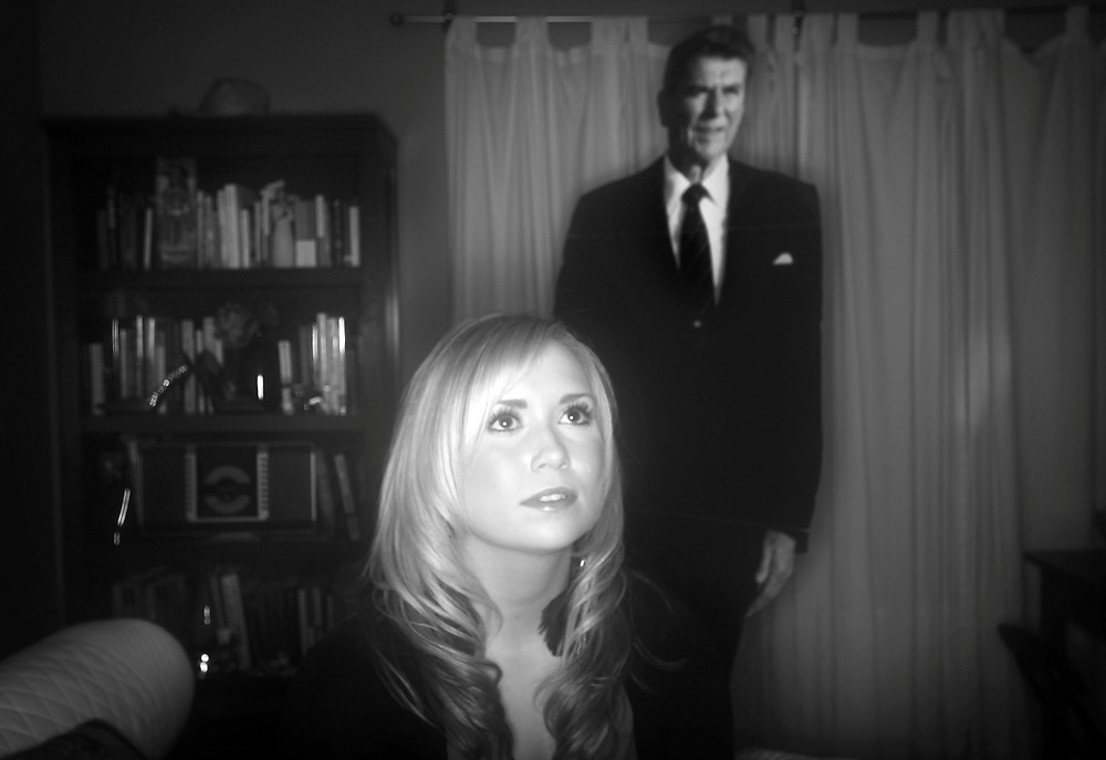 Teresa Lucas, a young rising star in the Oregon Republican Party, has a life-size cardboard cutout of Ronald Reagan in her Keizer bedroom on Thursday, Nov. 18, 2010.