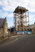 Water tower of the railway works. The Railway Village built by GWR to house workers in the 1840s, Swindon, England