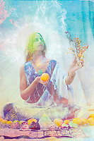 Sacred saintly modern priestess woman holding sage smudge and a fruit with her aura lit. She offers health and high frequency energy healing through mindful meditation, mantra conscious eating practices, and grounded vibration. Sacred Food Priestess