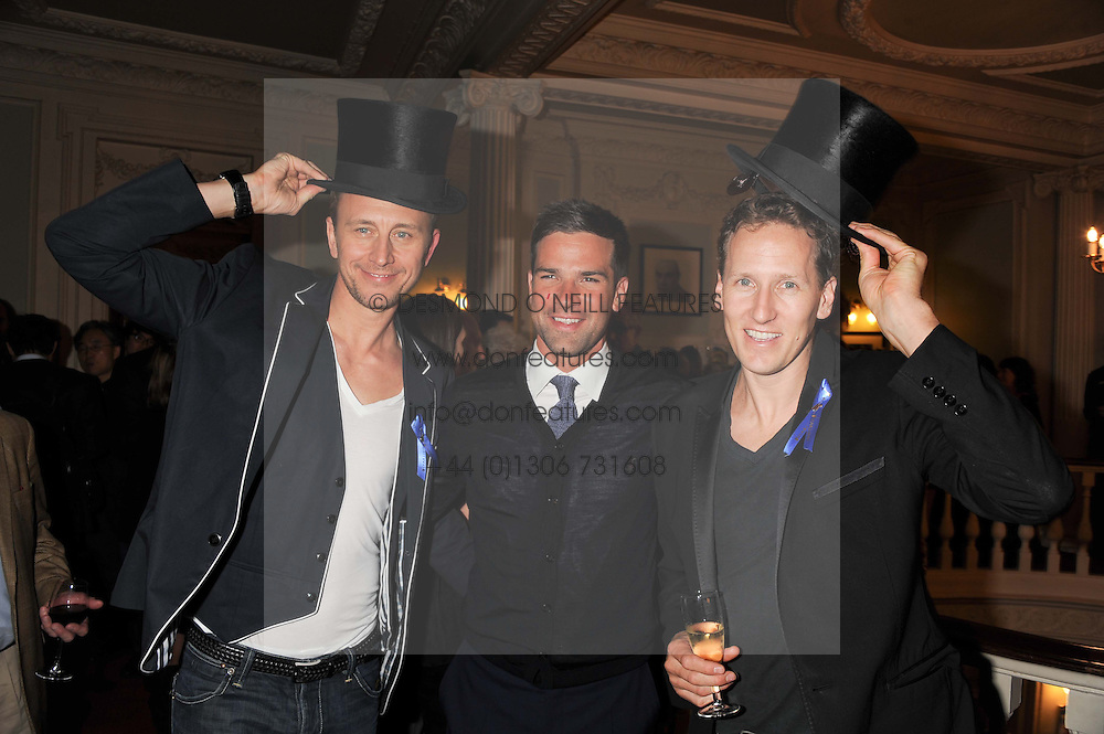 Left to right, dancer IAN WAITE, TV presenter GETHIN JONES and dancer BRENDAN COLEat an after show party following the 1st preview show of the new show Top Hat in aid of the charity Starlight held at the Aldwych Theatre, London on 19th April 2012.