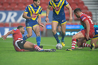 Rugby League - 2020 Coral Challenge Cup - Salford Red Devils vs Warrington Wolves - TW Stadium, St Helen's<br /> <br /> Salford Red Devils's Kallum Watkins scores his sides first try<br /> <br /> COLORSPORT/TERRY DONNELLY