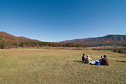 People are relaxing at field in Great Smokey Nationalpark, autumn atmosphere. Tennessee. United States of America.