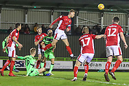 Crewe Alexandra's George Ray(5) heads the ball clear during the EFL Sky Bet League 2 match between Forest Green Rovers and Crewe Alexandra at the New Lawn, Forest Green, United Kingdom on 22 December 2018.