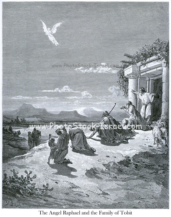 The Angel Raphael and the Family of Tobit [Tobit 6:4] From the book 'Bible Gallery' Illustrated by Gustave Dore with Memoir of Dor? and Descriptive Letter-press by Talbot W. Chambers D.D. Published by Cassell & Company Limited in London and simultaneously by Mame in Tours, France in 1866. Tobias and the Angel The Book of Tobit is a book of scripture that is part of the Catholic and Orthodox biblical canons. It was recognized as canonical by the Council of Hippo (in 393), the Councils of Carthage of 397 and 417, and the Council of Florence (in 1442), and confirmed in the Counter-Reformation by the Council of Trent (1546). It is not found in Protestant or Jewish biblical canons.