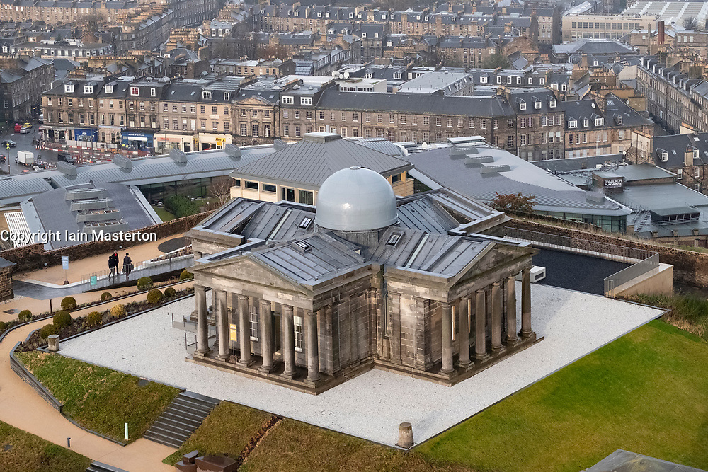 Edinburgh, Scotland, UK. 21 November, 2018. The historic City Observatory on Calton Hill will reopen as The Collective, an arts organisation and will feature the restored City Observatory, City Dome, and a purpose-built exhibition space as well as The Lookout , a new restaurant run by The Gardener's Cottage owners. It opens to the public on 24 November, 2018. View of The Collective with City Observatory in centre. ++ Editorial Use Only ++