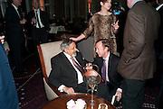 SIR V.S. NAIPAUL; GEORDIE GREIG,Ella Krasner and Pablo Ganguli host a Liberatum dinner in honour of Sir V.S.Naipaul. The Landau at the Langham. London. 23 November 2010. -DO NOT ARCHIVE-© Copyright Photograph by Dafydd Jones. 248 Clapham Rd. London SW9 0PZ. Tel 0207 820 0771. www.dafjones.com.