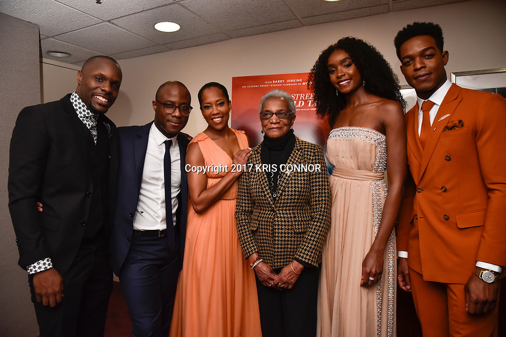 """WASHINGTON, DC - OCTOBER 27: Director/screenwriter Barry Jenkins, Gloria Karefa-Smart and actors Regina Hall, Stephan James, and KiKi Layne attend the closing night screening of """"IF BEALE STREET COULD TALK"""" at the inaugural Smithsonian African American Film Festival 2018 at National Air and Space Museum in Washington DC on October 27th, 2018. (Photo by Kris Connor/Annapurna Pictures)"""