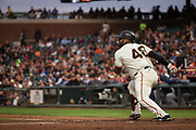 San Francisco Giants third baseman Pablo Sandoval (48) hits against the Milwaukee Brewers at AT&T Park in San Francisco, California, on August 21, 2017. (Stan Olszewski/Special to S.F. Examiner)