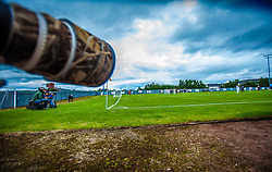 The Bet Butler Stadium, home of Dumbarton Football Club. The 2,025 all seated stadium has been used since December 2000. The main stand is overshadowed by Dumbarton Rock & sits aside the banks of the River Leven.<br /> ©Michael Schofield.